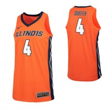 Illinois Fighting Illini #4 Zach Griffith Replica Orange Jersey