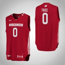 Wisconsin Badgers #0 D'Mitrik Trice Red College Basketball Jersey
