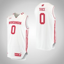 Wisconsin Badgers #0 D'Mitrik Trice White College Basketball Jersey