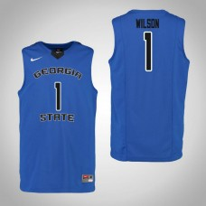 Georgia State Panthers #1 Damon Wilson Blue College Basketball Jersey