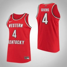 Western Kentucky #4 Dee Givens Red College Basketball Jersey