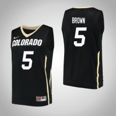 Colorado Buffaloes #5 Deleon Brown Black College Basketball Jersey