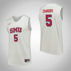 SMU Mustangs #5 Ethan Chargois White College Basketball Jersey