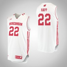 Wisconsin Badgers #22 Ethan Happ White College Basketball Jersey