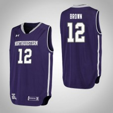 Northwestern Wildcats #12 Isiah Brown Purple College Basketball Jersey