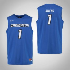 Creighton Bluejays #1 Jade Owens Royal College Basketball Jersey