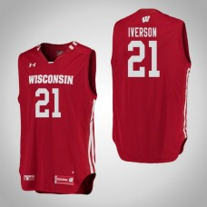 Wisconsin Badgers #21 Khalil Iverson Red College Basketball Jersey