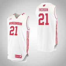 Wisconsin Badgers #21 Khalil Iverson White College Basketball Jersey