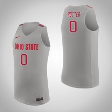 Ohio State Buckeyes #0 Micah Potter Pure Gray College Basketball Jersey