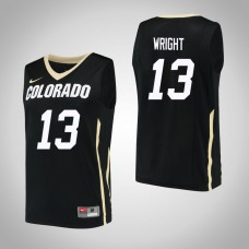 Colorado Buffaloes #13 Namon Wright Black College Basketball Jersey
