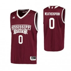 Mississippi State Bulldogs #0 Nick Weatherspoon Replica Maroon Jersey