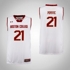 Boston College Eagles #21 Nik Popovic Cardinal College Basketball Jersey