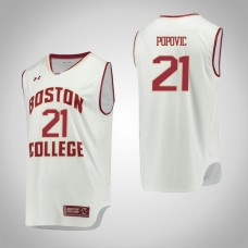 Boston College Eagles #21 Nik Popovic White College Basketball Jersey