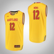 Maryland Terrapins #12 Reese Mona Yellow College Basketball Jersey