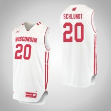 Wisconsin Badgers #20 T.J. Schlundt White College Basketball Jersey