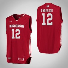 Wisconsin Badgers #12 Trevor Anderson Red College Basketball Jersey