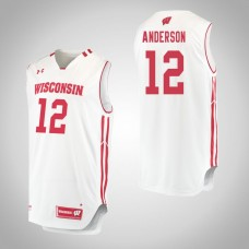 Wisconsin Badgers #12 Trevor Anderson White College Basketball Jersey