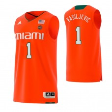 Miami Hurricanes #1 Dejan Vasiljevic Replica Orange Jersey