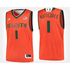 Miami Hurricanes #1 Orange College Basketball Jersey