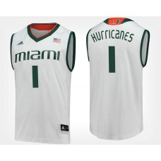 Miami Hurricanes #1 White College Basketball Jersey