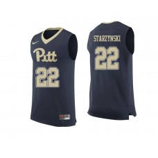 Pittsburgh Panthers #22 Anthony Starzynski Navy College Basketball Jersey