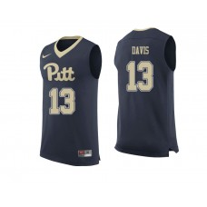 Pittsburgh Panthers #13 Khameron Davis Navy College Basketball Jersey