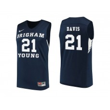 BYU Cougars #21 Kyle Davis Navy College Basketball Jersey