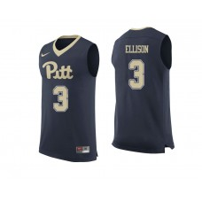 Pittsburgh Panthers #3 Malik Ellison Navy College Basketball Jersey