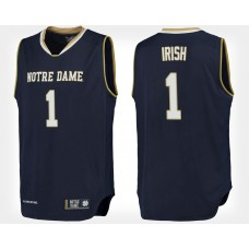 Notre Dame Fighting Irish #1 Navy College Basketball Jersey