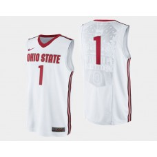 Ohio State Buckeyes #1 JaeSean Tate White Home College Basketball Jersey