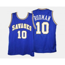Oklahoma Savage Storm #10 Dennis Rodman Blue Road College Basketball Jersey