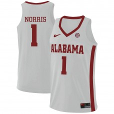 Alabama Crimson Tide #1 Riley Norris White College Basketball Jersey