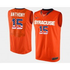 Syracuse Orange #15 Carmelo Anthony Orange Road USA Flag College Basketball Jersey