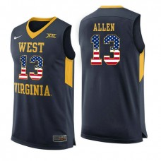 West Virginia Mountaineers #13 Teddy Allen Navy College Basketball Jersey