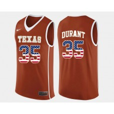 Texas LongHorns #35 Kevin Durant Orange Road USA Flag College Basketball Jersey