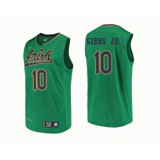 Notre Dame Fighting Irish #10 TJ Gibbs Jr. Green College Basketball Jersey