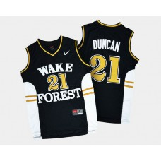 Wake Forest Demon Deacons #21 Tim Duncan Black Road College Basketball Jersey