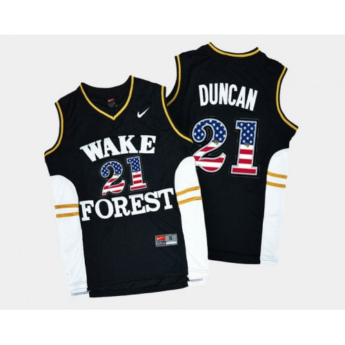 Wake Forest Demon Deacons #21 Tim Duncan Black Road USA Flag College Basketball Jersey