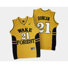 Wake Forest Demon Deacons #21 Tim Duncan Gold Alternate College Basketball Jersey