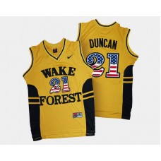 Wake Forest Demon Deacons #21 Tim Duncan Gold College Basketball Jersey