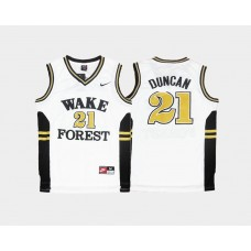 Wake Forest Demon Deacons #21 Tim Duncan White Home College Basketball Jersey