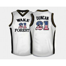Wake Forest Demon Deacons #21 Tim Duncan White Home USA Flag College Basketball Jersey