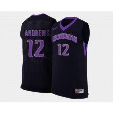 Washington Huskies #12 Andrew Andrews Black Alternate College Basketball Jersey