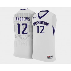 Washington Huskies #12 Andrew Andrews White Home College Basketball Jersey