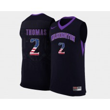 Washington Huskies #2 Isaiah Thomas Black Alternate USA Flag College Basketball Jersey