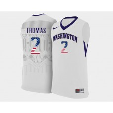 Washington Huskies #2 Isaiah Thomas White Home USA Flag College Basketball Jersey
