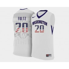 Washington Huskies #20 Markelle Fultz White Home USA Flag College Basketball Jersey