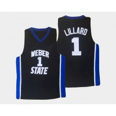 Weber State Wildcats #1 Damian Lillard Black Alternate College Basketball Jersey
