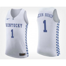 Kentucky Wildcats #1 Devin Booker White Road College Basketball Jersey