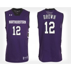 Northwestern Wildcats #12 Isiah Brown Purple Home College Basketball Jersey